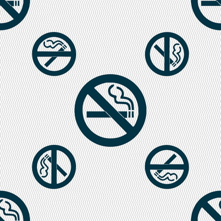 smoldering cigarette: no smoking icon sign. Seamless pattern with geometric texture. illustration