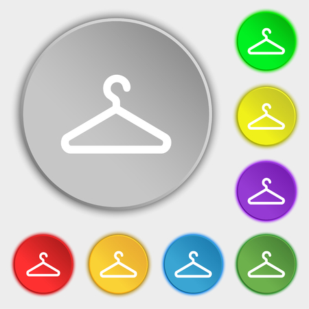 clothes hanger: clothes hanger icon sign. Symbol on five flat buttons. illustration