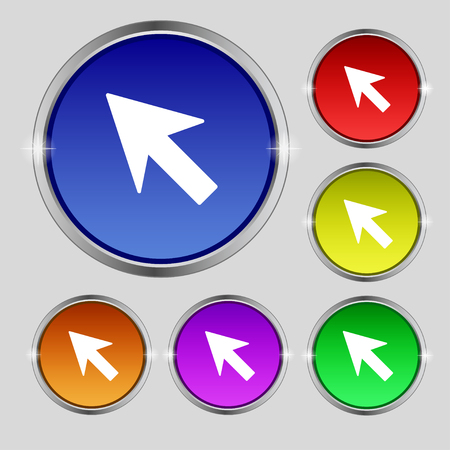 cursor arrow: Cursor, arrow icon sign. Round symbol on bright colourful buttons. illustration
