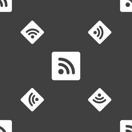 rss feed: RSS feed icon sign. Seamless pattern on a gray background. illustration