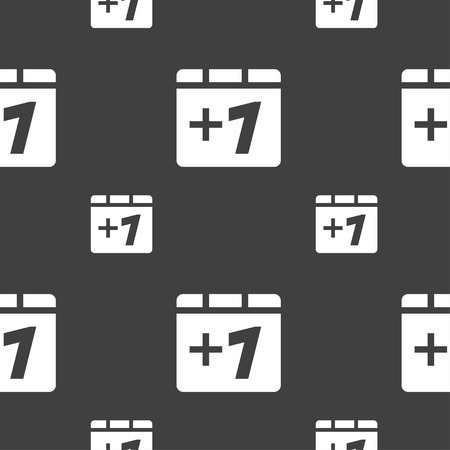 append: Plus one, Add one icon sign. Seamless pattern on a gray background. illustration Stock Photo