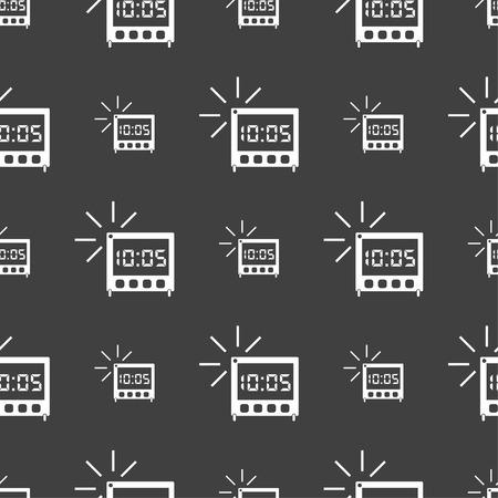 digital clock: digital Alarm Clock icon sign. Seamless pattern on a gray background. illustration