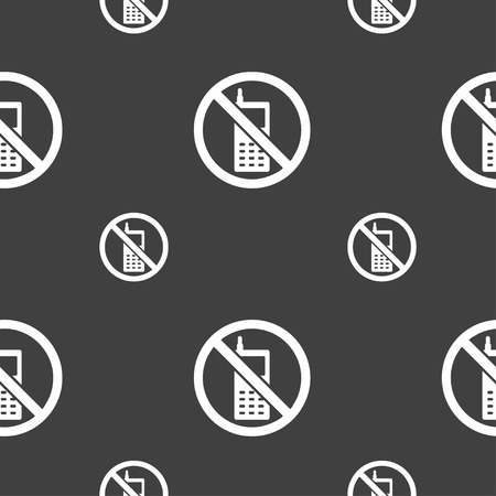 cell phones not allowed: mobile phone is prohibited icon sign. Seamless pattern on a gray background. illustration Stock Photo