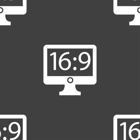 the ratio: Aspect ratio 16:9 widescreen tv icon sign. Seamless pattern on a gray background. illustration