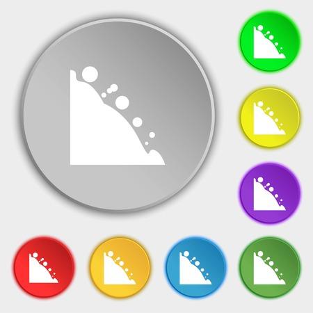 rockfall: Rockfall icon. Symbols on eight flat buttons. illustration Stock Photo