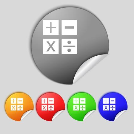 multiplicacion: Multiplication, division, plus, minus icon Math symbol Mathematics Set of colour buttons illustration