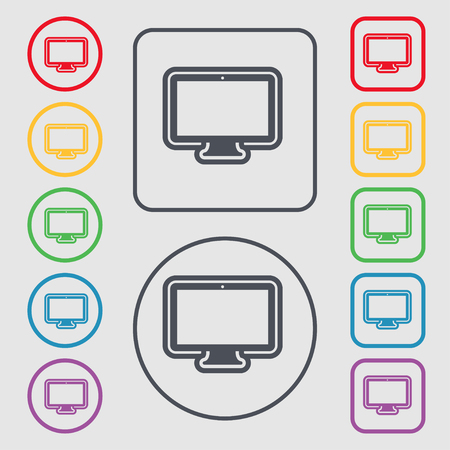 monitor icon sign. symbol on the Round and square buttons with frame. illustration