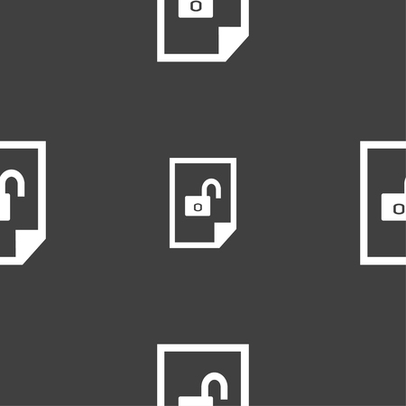 lockout: File unlocked icon sign. Seamless pattern on a gray background. illustration Stock Photo