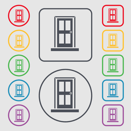 doorknob: Door icon sign. symbol on the Round and square buttons with frame. illustration