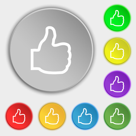 Like icon sign. Symbol on eight flat buttons. illustration