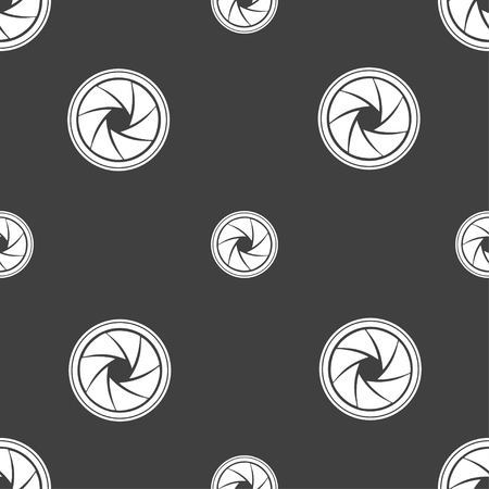 aperture: diaphragm icon. Aperture sign. Seamless pattern on a gray background. illustration