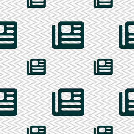 newspaper texture: book, newspaper icon sign. Seamless pattern with geometric texture. illustration