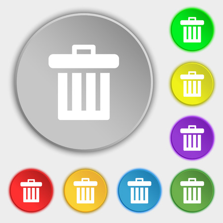 discard: Recycle bin icon sign. Symbol on five flat buttons. illustration