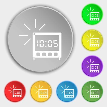 digital clock: digital Alarm Clock icon sign. Symbols on eight flat buttons. illustration