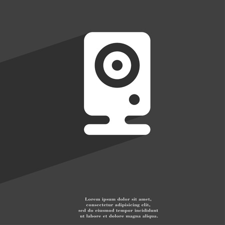 web cam: Web cam icon symbol Flat modern web design with long shadow and space for your text. illustration
