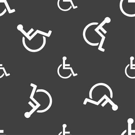 paralyze: disabled icon sign. Seamless pattern on a gray background. illustration Stock Photo