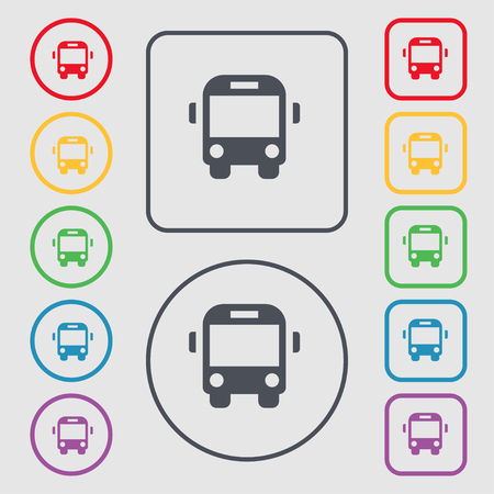 schoolbus: Bus icon sign. symbol on the Round and square buttons with frame. illustration Stock Photo