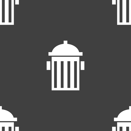 hydrant plug: fire hydrant icon sign. Seamless pattern on a gray background. illustration