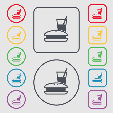 lunch box: lunch box icon sign. symbol on the Round and square buttons with frame. illustration