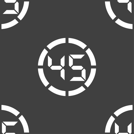corner clock: 45 second stopwatch icon sign. Seamless pattern on a gray background. illustration