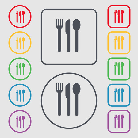 fork knife spoon: fork, knife, spoon icon sign. symbol on the Round and square buttons with frame. illustration