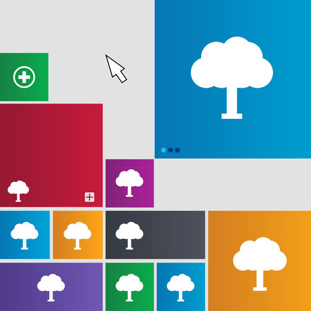 coma: Tree, Forest icon sign. Metro style buttons. Modern interface website buttons with cursor pointer. illustration