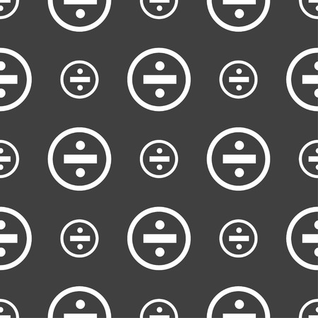 dividing: dividing icon sign. Seamless pattern on a gray background. illustration Stock Photo