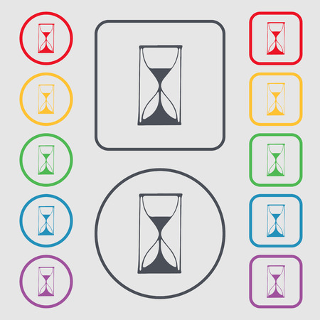 sand timer: Hourglass sign icon. Sand timer symbol. Symbols on the Round and square buttons with frame. illustration