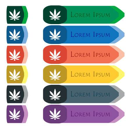 hashish: Cannabis leaf icon sign. Set of colorful, bright long buttons with additional small modules. Flat design. Stock Photo