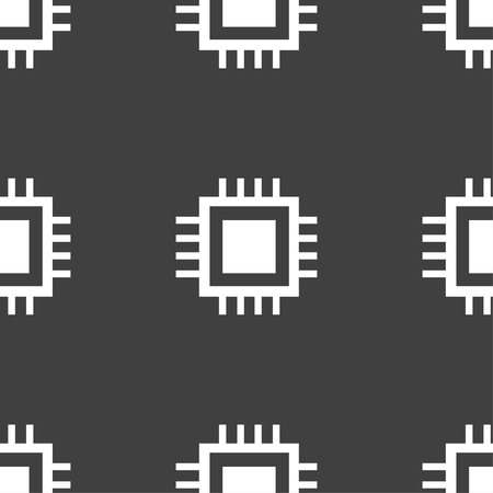 the unit: Central Processing Unit Icon. Technology scheme circle symbol. Seamless pattern on a gray background. illustration