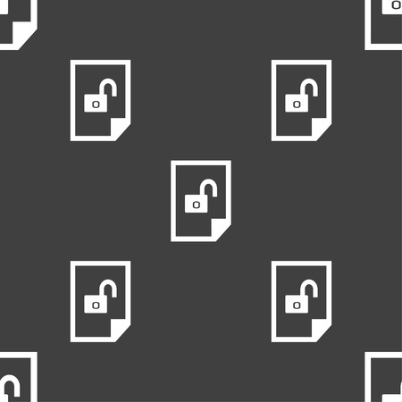 document icon: File unlocked icon sign. Seamless pattern on a gray background. illustration Stock Photo