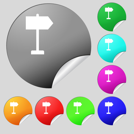 designator: Signpost icon sign. Set of eight multi-colored round buttons, stickers. illustration