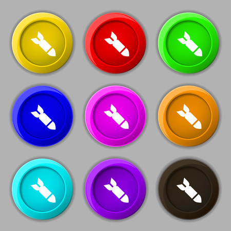 ballistic: Missile,Rocket weapon icon sign. symbol on nine round colourful buttons. illustration Stock Photo