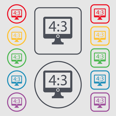 4 3 display: Aspect ratio 4 3 widescreen tv icon sign. symbol on the Round and square buttons with frame. illustration
