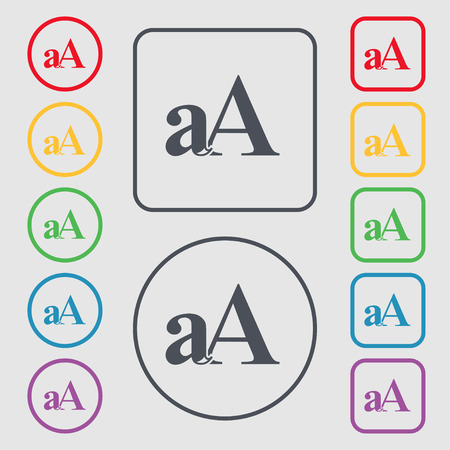 enlarge: Enlarge font, aA icon sign. symbol on the Round and square buttons with frame. illustration Stock Photo