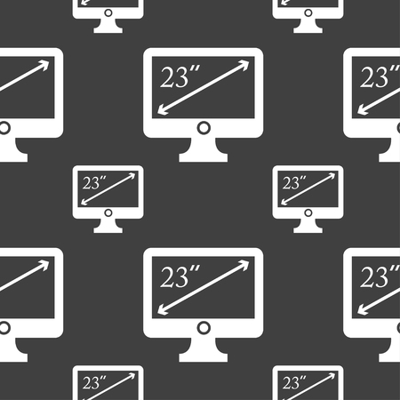 inches: diagonal of the monitor 23 inches icon sign. Seamless pattern on a gray background. illustration