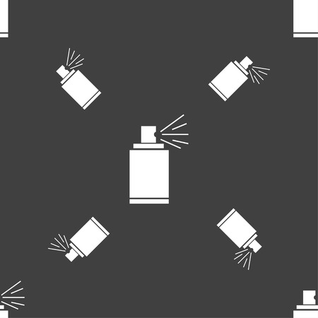spray can: Graffiti spray can sign icon. Aerosol paint symbol. Seamless pattern on a gray background. illustration Stock Photo