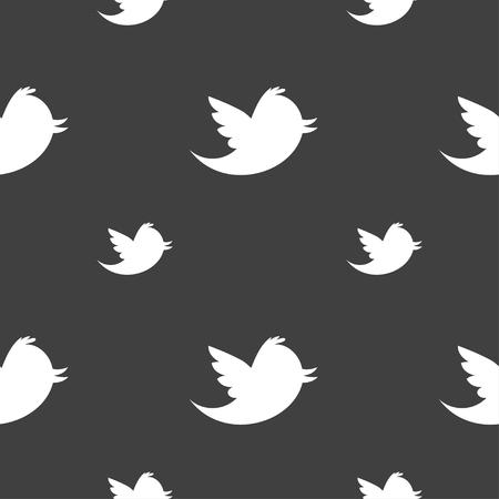 medios de comunicación social: Las redes sociales, los mensajes de Twitter icono de la muestra de retweet. patrón transparente sobre un fondo gris. ilustración