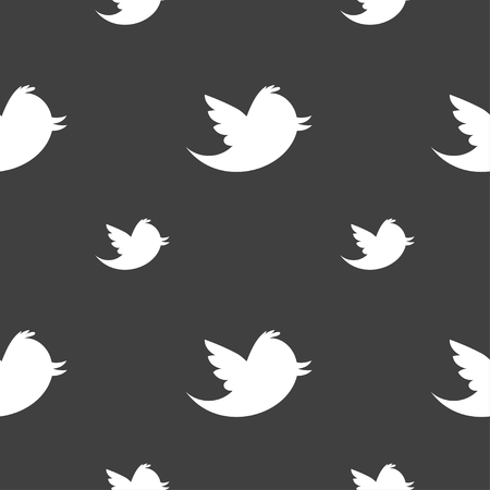 social media icons: Social media, messages twitter retweet icon sign. Seamless pattern on a gray background. illustration