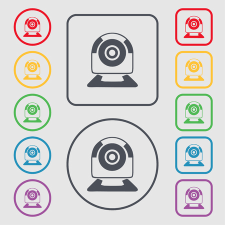 video chat: Webcam sign icon. Web video chat symbol. Camera chat. Symbols on the Round and square buttons with frame. illustration Stock Photo