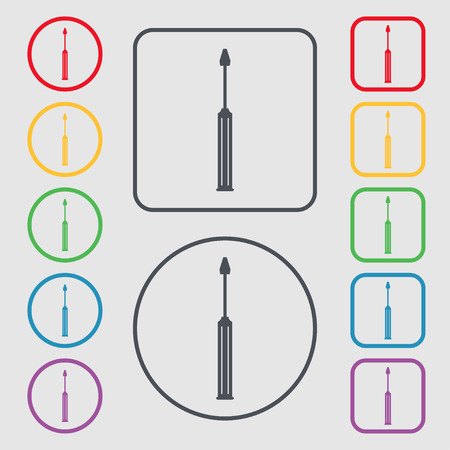 sig: Screwdriver tool sign icon. Fix it symbol. Repair sig. Symbols on the Round and square buttons with frame. illustration Stock Photo