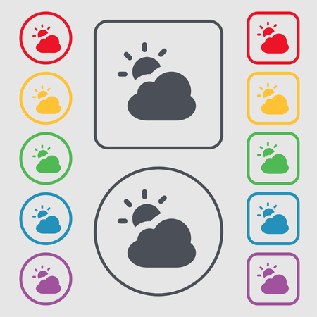 widget: weather icon sign. symbol on the Round and square buttons with frame. illustration Stock Photo