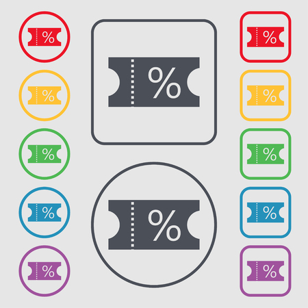 stub: ticket discount icon sign. Symbols on the Round and square buttons with frame. illustration