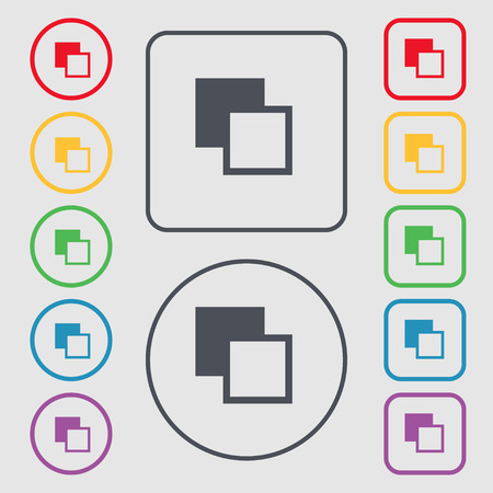 photoshop: Active color toolbar icon sign. symbol on the Round and square buttons with frame. illustration