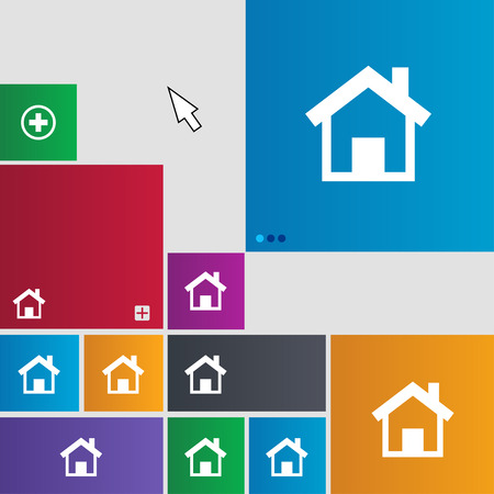 main: Home, Main page icon sign. Metro style buttons. Modern interface website buttons with cursor pointer. illustration Stock Photo