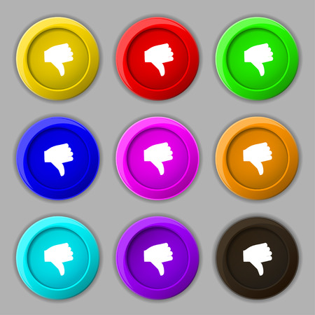 thumb down icon: Dislike, Thumb down icon sign. symbol on nine round colourful buttons. illustration