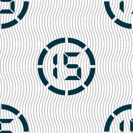 corner clock: 15 second stopwatch icon sign. Seamless pattern with geometric texture. illustration Stock Photo