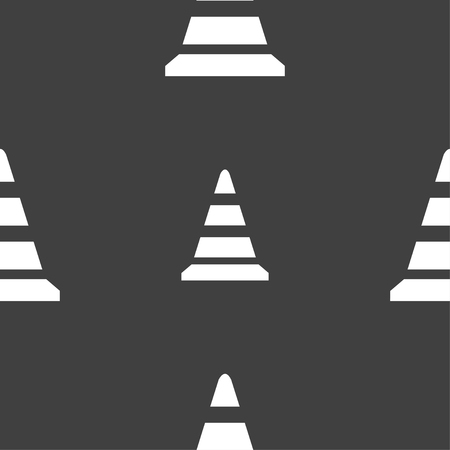 traffic pylon: road cone icon. Seamless pattern on a gray background. illustration