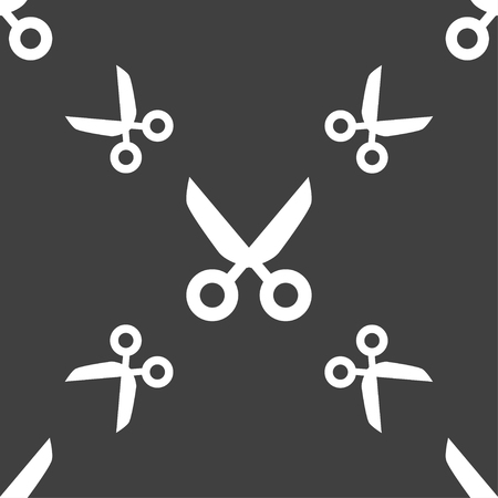 snip: Scissors hairdresser sign icon. Tailor symbol. Seamless pattern on a gray background. illustration