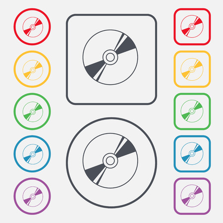 dvd rom: Cd, DVD, compact disk, blue ray icon sign. symbol on the Round and square buttons with frame. illustration Stock Photo